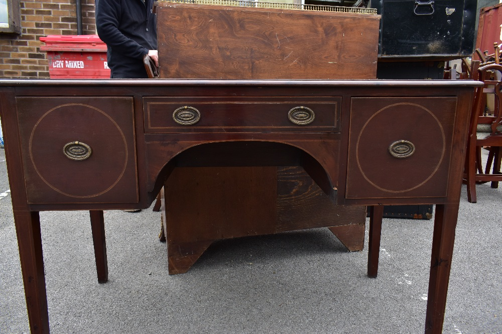 An Edwardian inlaid mahogany knee hole writing table, the central drawer flanked by two panelled - Image 3 of 5
