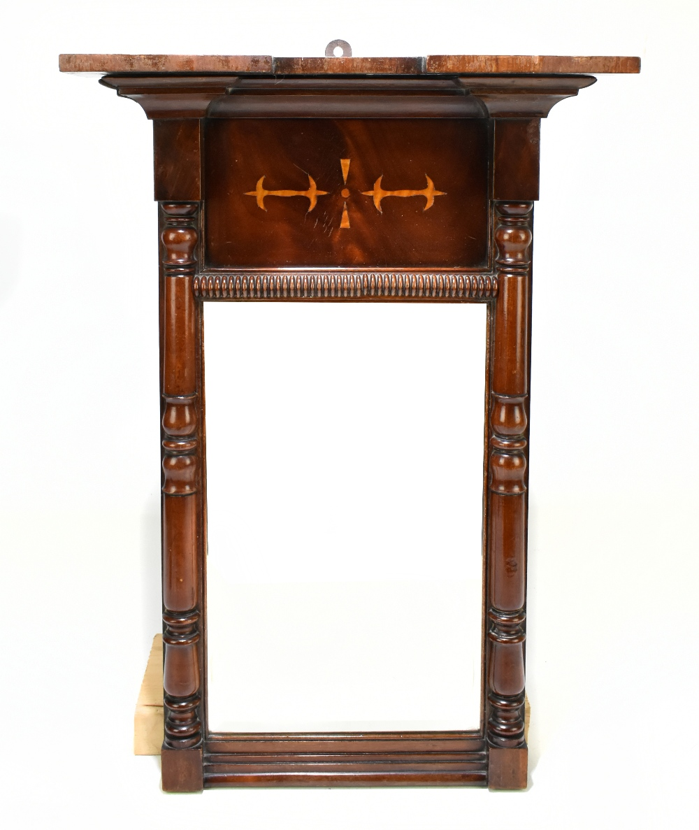 A Continental inlaid mahogany pier glass with central bevelled plate, height 67cm, width 37cm.