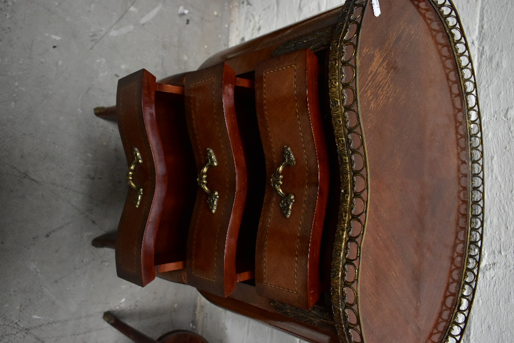 Two reproduction French style kidney shaped side tables, each with brass galleried top, the larger - Image 4 of 6