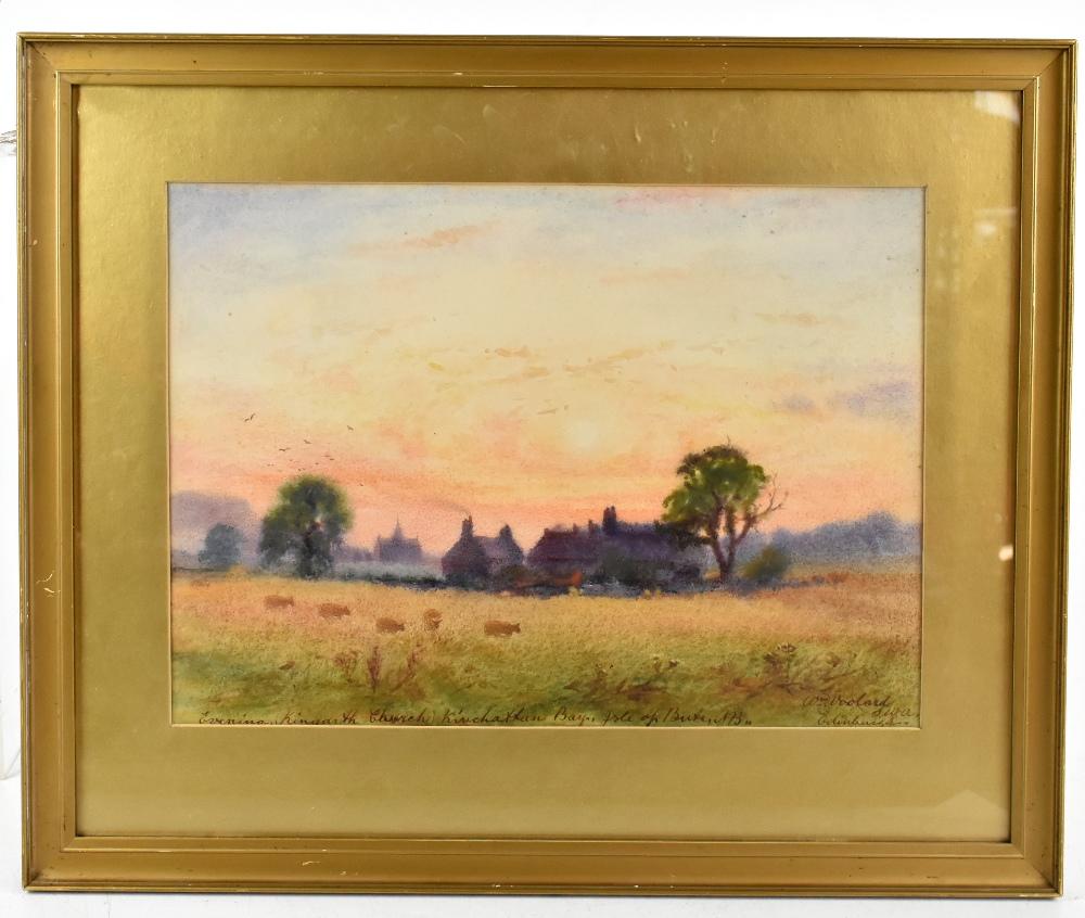 WILLIAM WOOLARD (Scottish fl. 1883-1908); watercolour, 'Evening Kingarth Church, Kinchattan Bay,