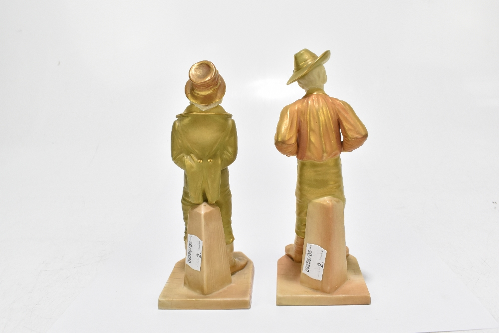 ROYAL WORCESTER; two figures emblematic of countries decorated in shot enamels and modelled by James - Image 3 of 5