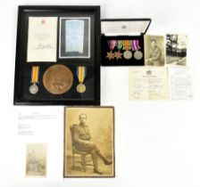 A WWI pair and memorial plaque to 281432 Pte W. F. Dunham, Lancashire Fusiliers, comprising VM and