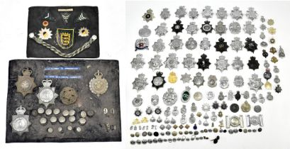 POLICE INTEREST; a large group of Police badges including a set mounted on board for the Baden