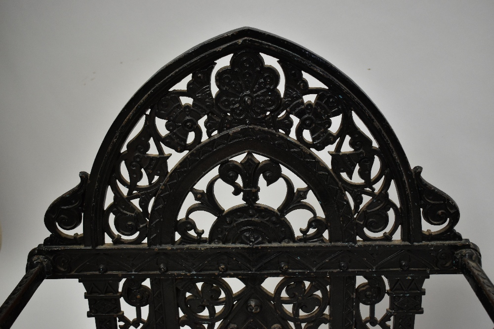 FALKIRK; a 19th century umbrella/stick stand with cast floral decoration and central section, with - Image 2 of 5
