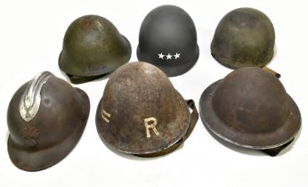 Six WWII and later helmets including a Brodie, American, French, further example labelled 'R' with