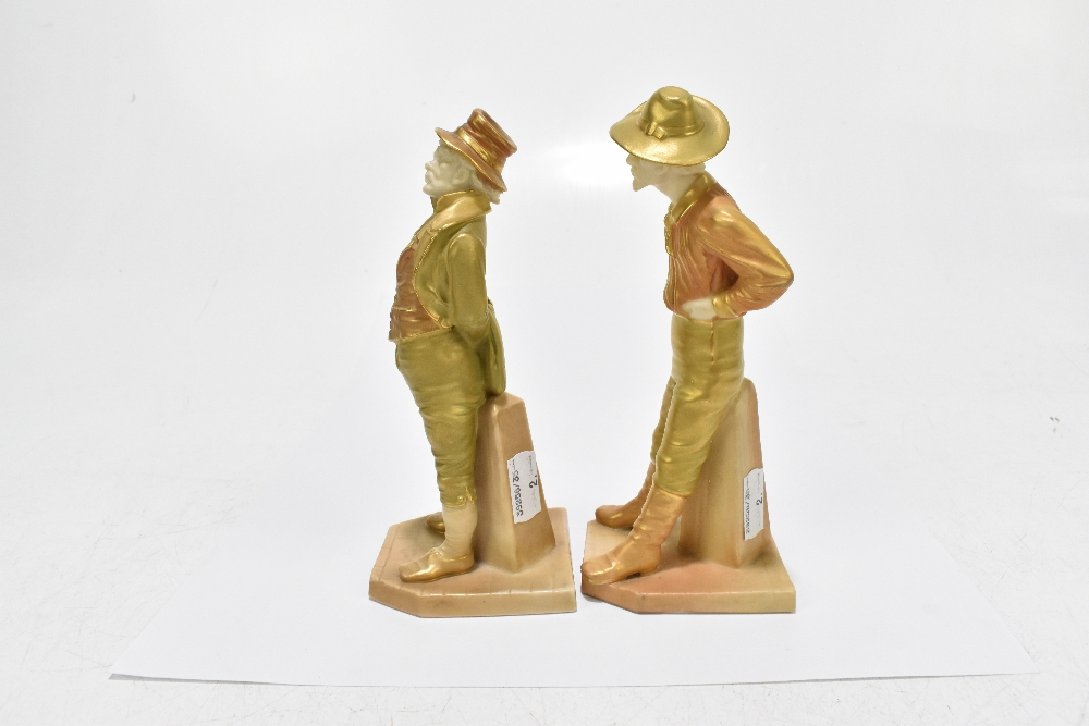 ROYAL WORCESTER; two figures emblematic of countries decorated in shot enamels and modelled by James - Image 4 of 5