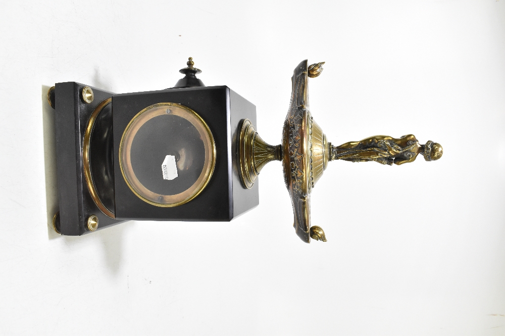 A French Victorian black slate and gilt brass mantel clock, of square form, with gilt brass surmount - Image 4 of 6