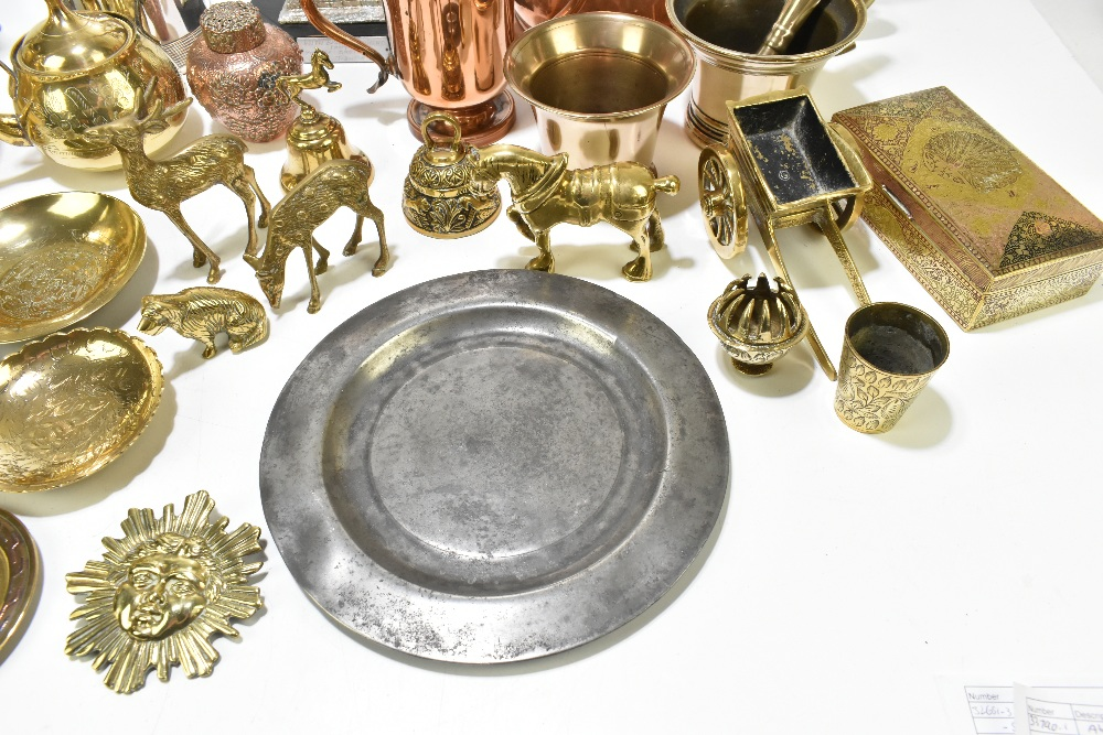 A collection of 19th century and later copper, pewter and other metalwareincluding a copper half - Image 3 of 7