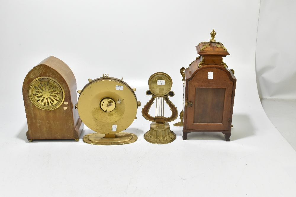 An Edwardian inlaid mahogany lancet topped mantel clock, the silvered dial with Arabic numerals, - Image 6 of 6