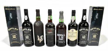 PORT; five bottlescomprising two cased bottles of Offley L.B.V 1985, Cockburns Late Bottled Vintage