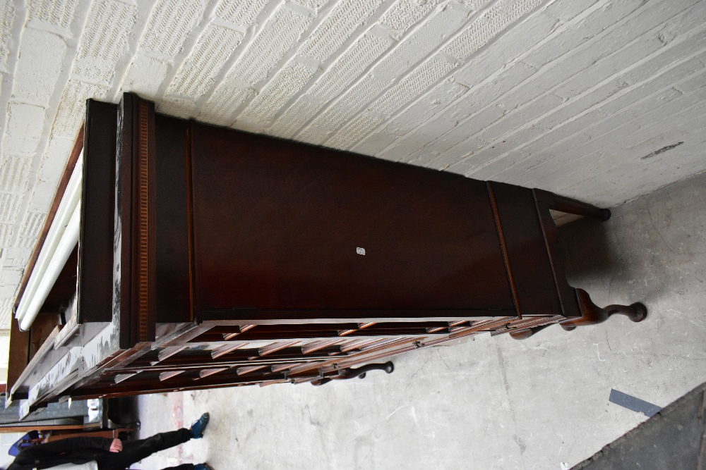An early 20th century inlaid mahogany inverted breakfront display cabinet, the four astragal - Image 2 of 7