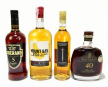 MIXED SPIRITS; four single bottles comprising Maynard's 40 years old Aged Tawny Port, 20% 75cl,