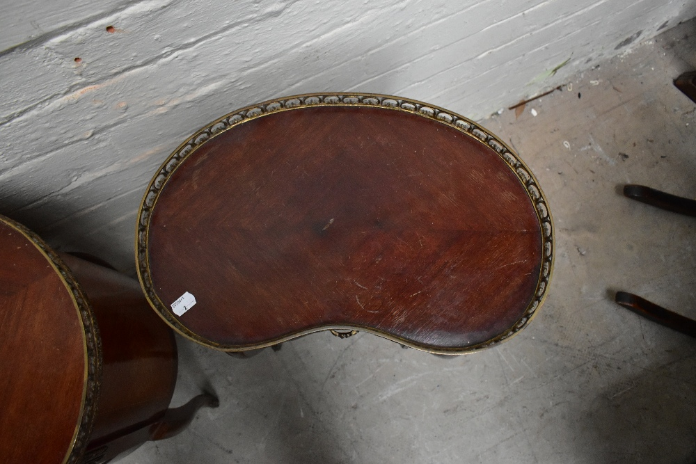 Two reproduction French style kidney shaped side tables, each with brass galleried top, the larger - Image 6 of 6