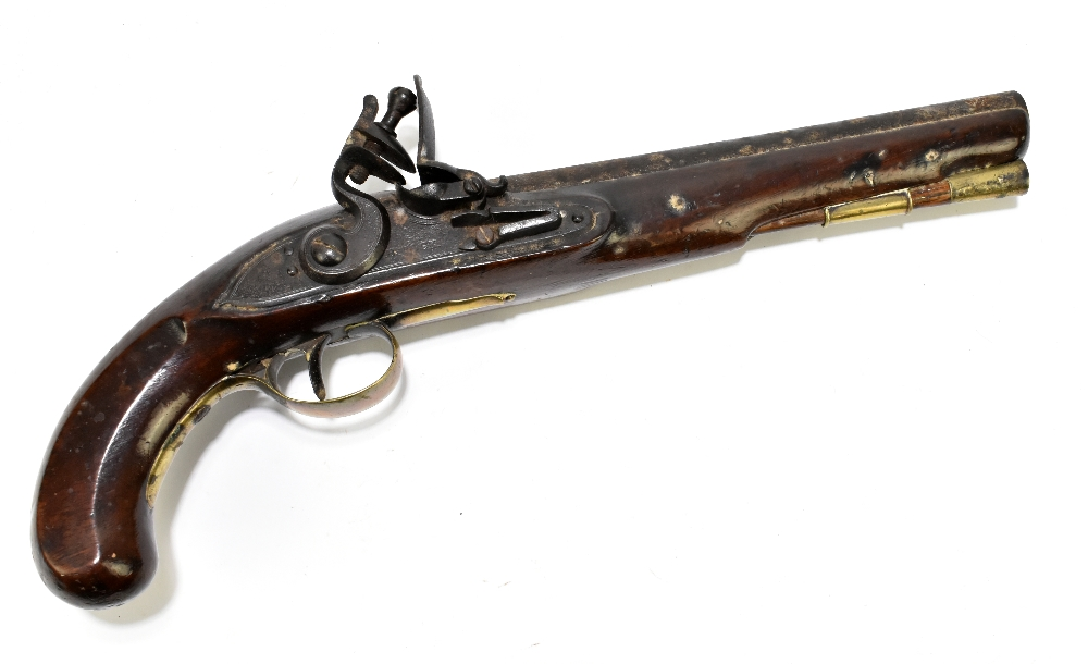 """H. KNOCK; a 19th century flintlock pistol with 9"""" barrel indistinctly stamped with various proof"""