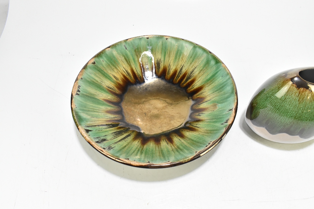 POOLE POTTERY; a large circular bowl decorated with green and bronze glaze, factory marks to base, - Image 2 of 5