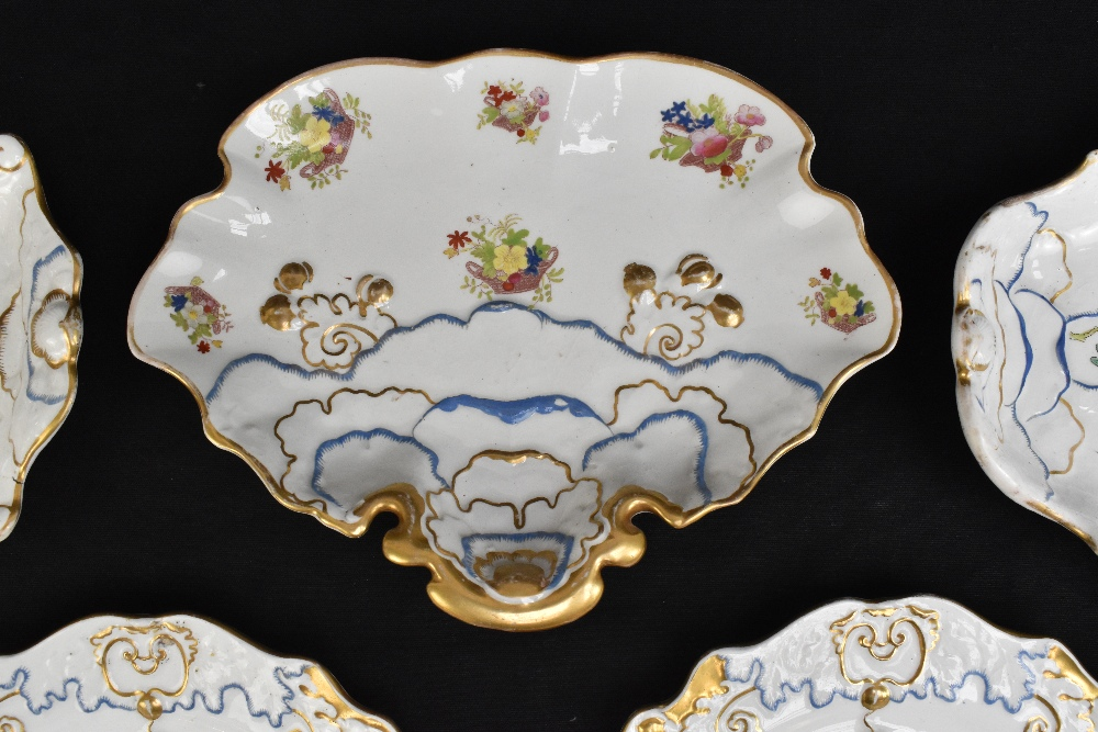 A pair of 19th century Ironstone china dessert plates with moulded floral detail throughout and - Image 3 of 8