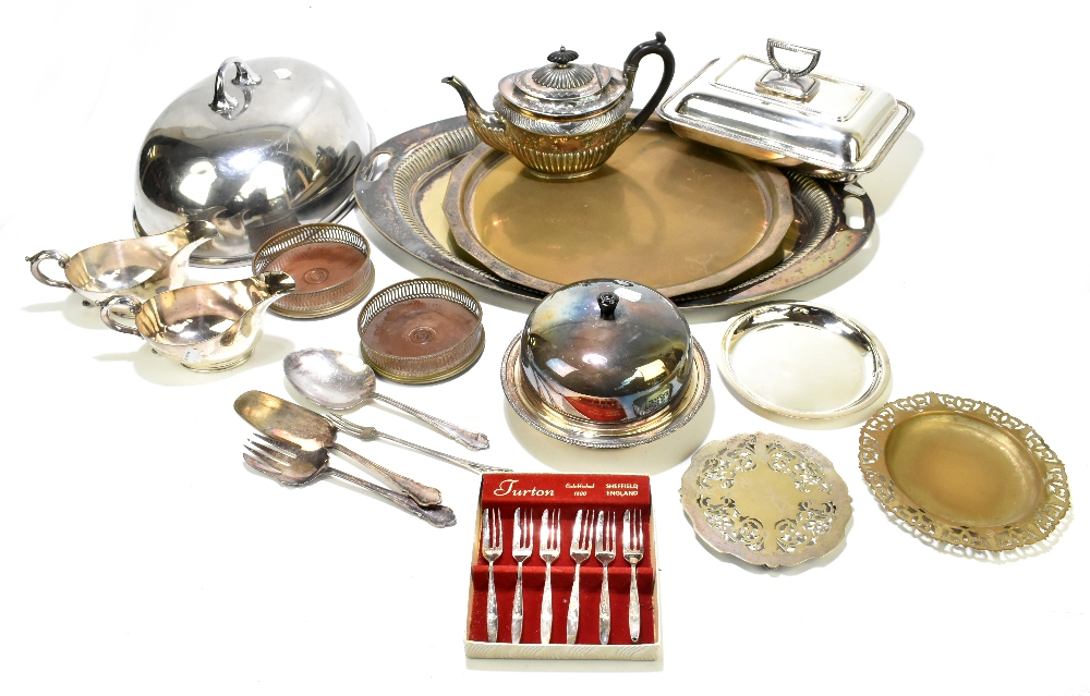 A quantity of assorted silver plate to include a large twin handled oval tray, a muffin dish, a