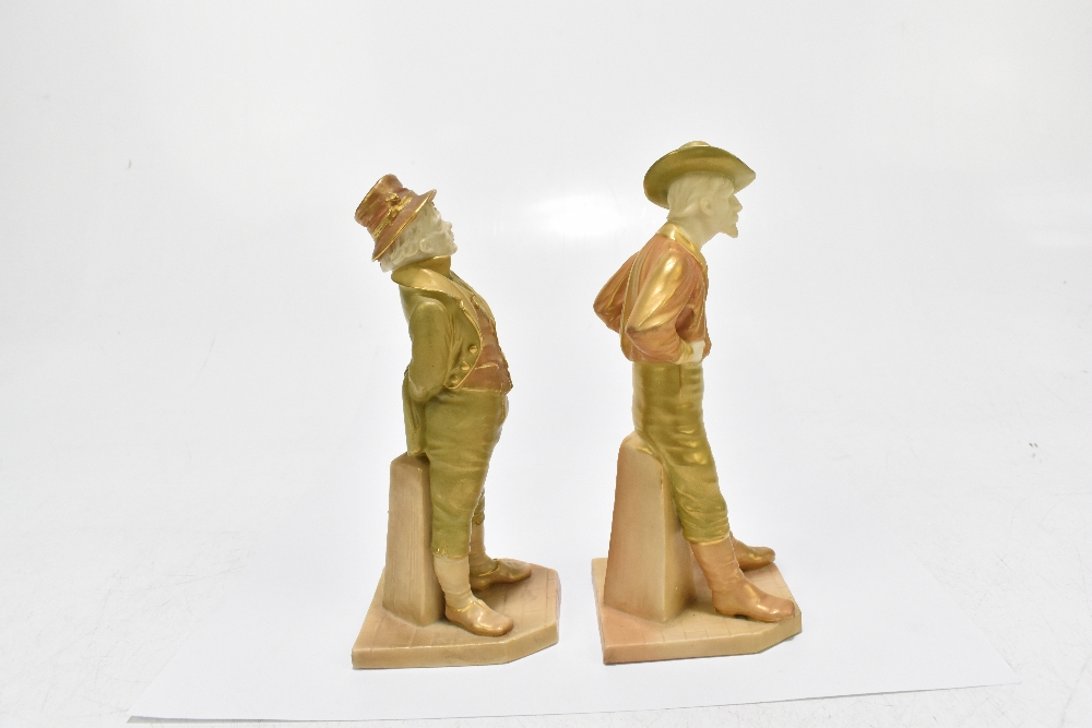 ROYAL WORCESTER; two figures emblematic of countries decorated in shot enamels and modelled by James - Image 2 of 5