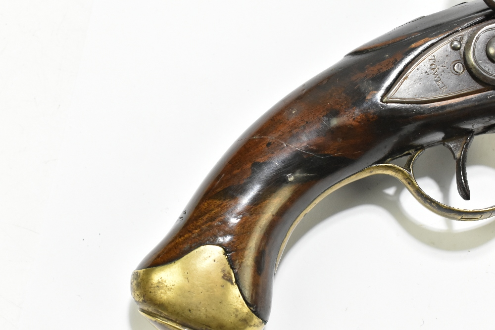 """A 19th century flintlock pistol, with 8"""" barrel stamped to the top 'D+XVI', further stamped with - Image 3 of 11"""