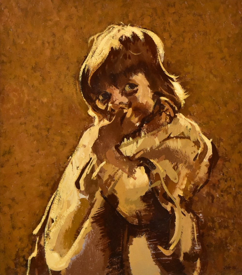 JOHN MCCOMBS (born 1943); oil on board, portrait of a child, signed and dated '75, 28.5 x 25cm, - Image 2 of 4