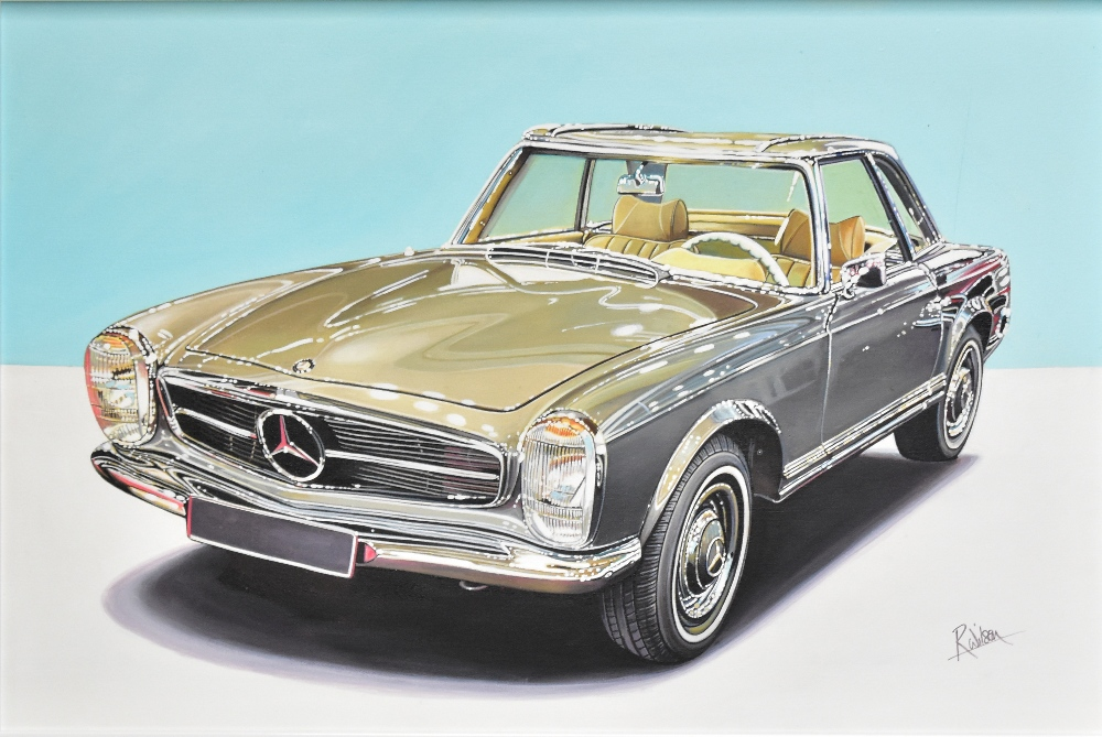 ROZ WILSON; oil on canvas, '1967 Mercedes Benz 230SL', signed lower right, 60 x 90cm, framed. (D) - Image 2 of 2