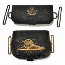 Two 19th century leather dispatch pouches, the first with later applied hallmarked silver Rifles