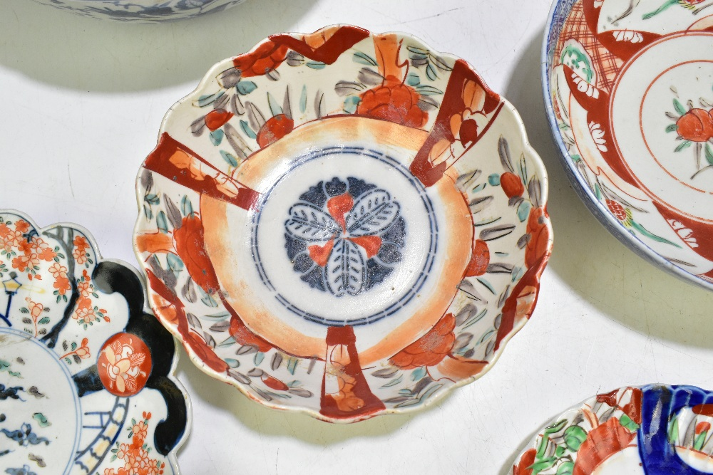 A collection of 19thcentury and later Japanese Imari porcelain and a bowl of circular form with - Image 9 of 14