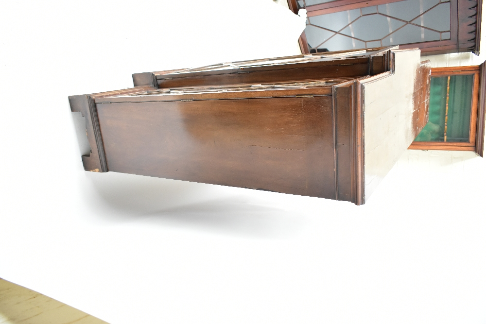 A late 19th century breakfront bookcase, the three astragal glazed doors enclosing adjustable - Image 3 of 4