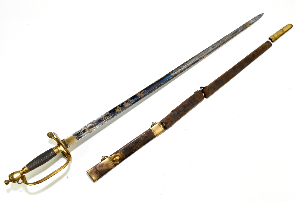A 19th century Continental court-type sword, the partly blued fullered blade with engraved gilt