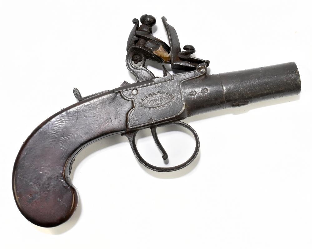 "REA; a 19th century London made flintlock muff pistol with 1.5"" screw-off barrel, the frame"