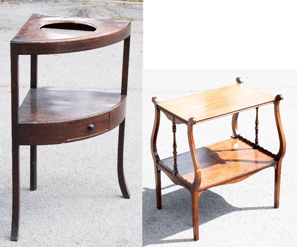 An Edwardian inlaid mahogany two tier occasional table with lyre shaped ends on tapered square legs,