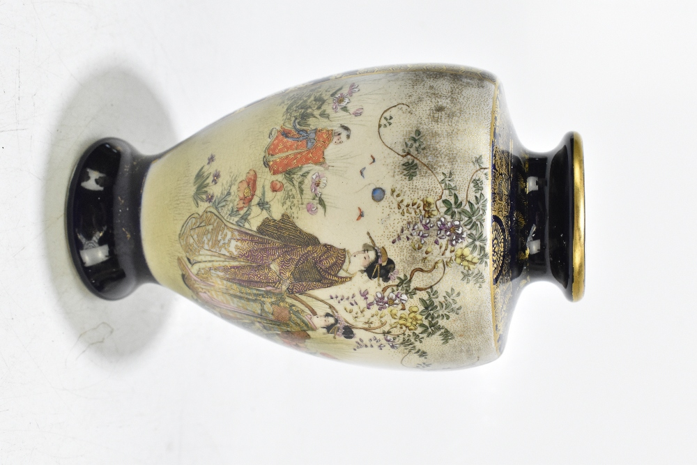 A Japanese Meiji period Satsuma vase of shouldered form decorated with Geishas within mountainous - Image 8 of 14