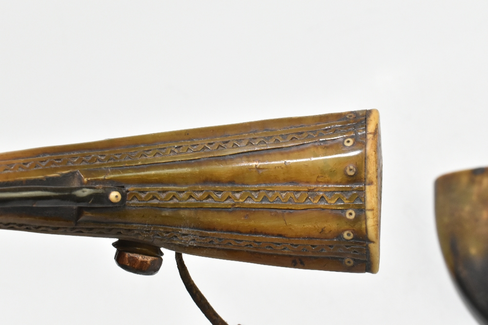 Six 19th century horn powder flasks, the largest length approx 26cm, one with carved detail, one - Image 4 of 4