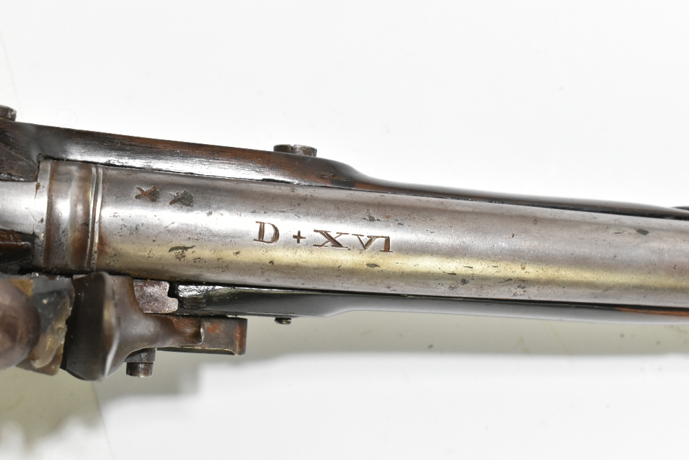 """A 19th century flintlock pistol, with 8"""" barrel stamped to the top 'D+XVI', further stamped with - Image 10 of 11"""