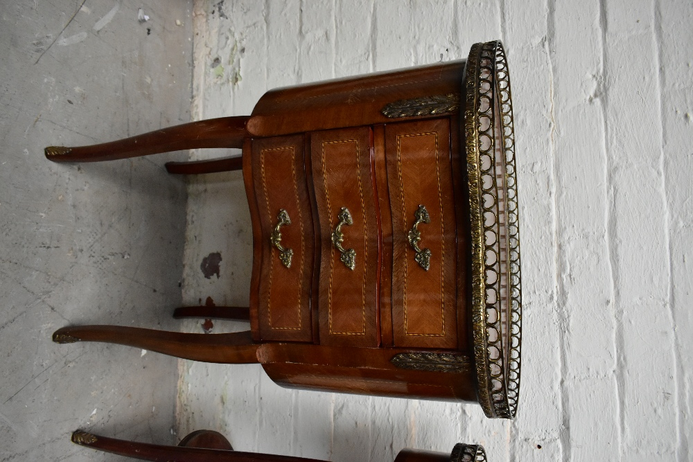 Two reproduction French style kidney shaped side tables, each with brass galleried top, the larger - Image 2 of 6
