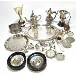 A collection of silver plated and white metal items,including an oval biscuit barrel,height 11.