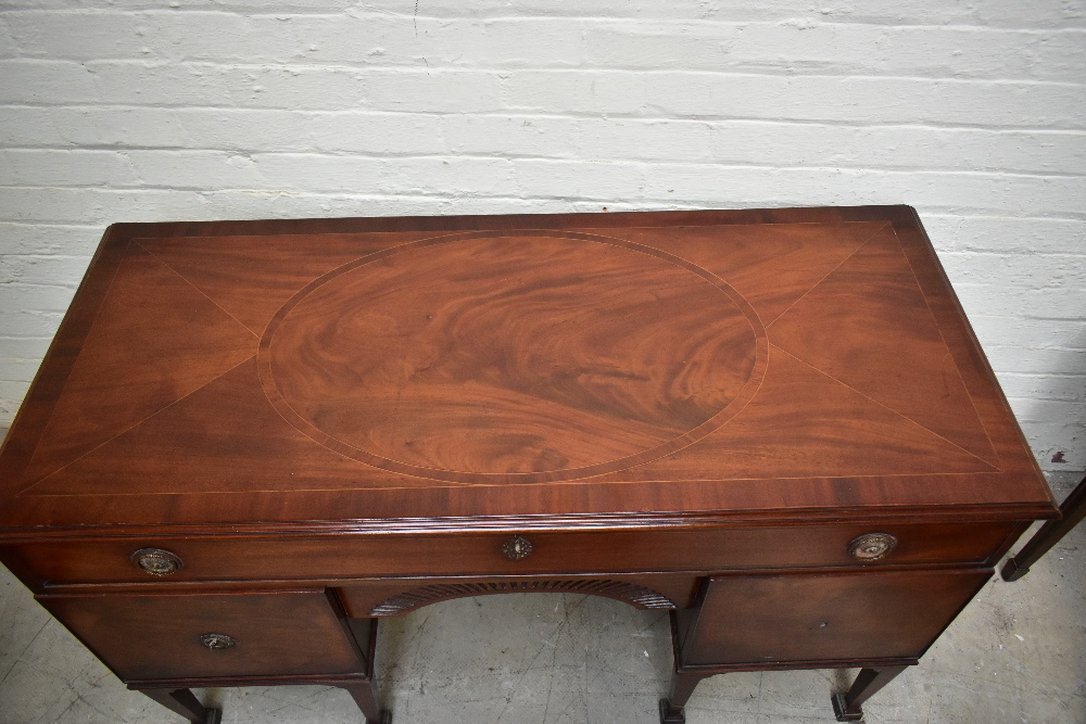 A Georgian inlaid mahogany sideboard, the large central drawer above carved arch shaped secret - Image 2 of 7