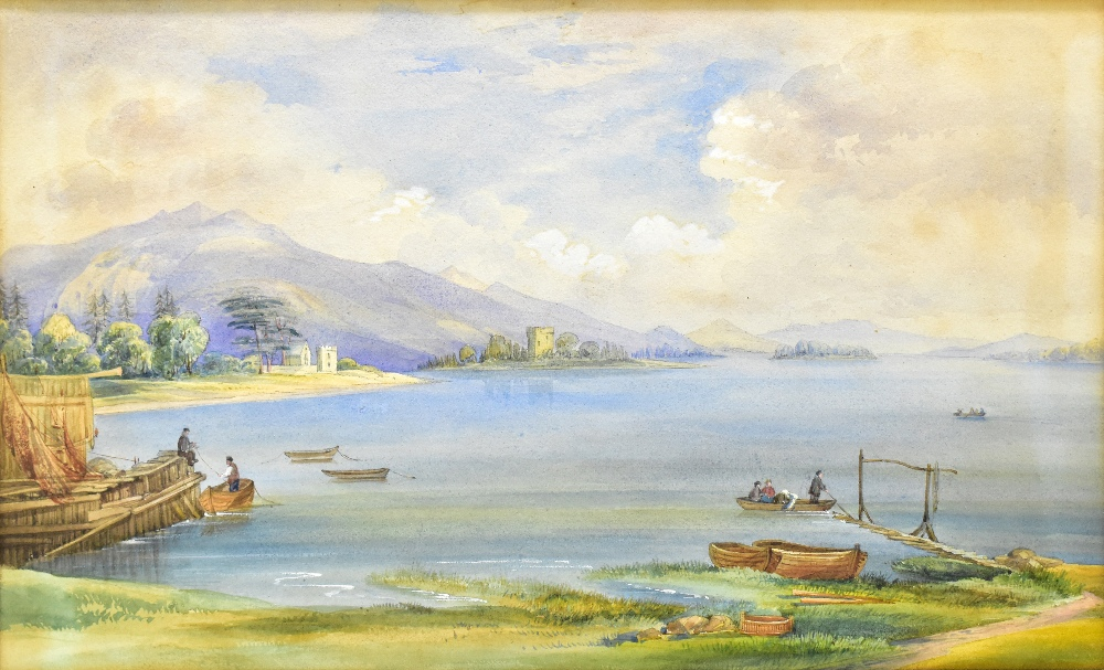 UNATTRIBUTED; a pair of 19th century watercolours, rural lake landscapes, unsigned, 27 x 55cm, - Image 4 of 5