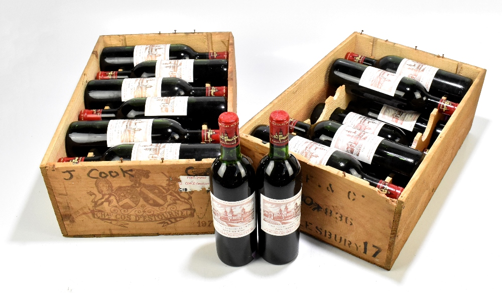 FRANCE; two cases of twelve 1970 Cos D'Estournel Saint-Estèphe bottles of red wine, 75cl (24).