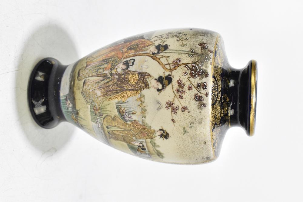 A Japanese Meiji period Satsuma vase of shouldered form decorated with Geishas within mountainous - Image 9 of 14