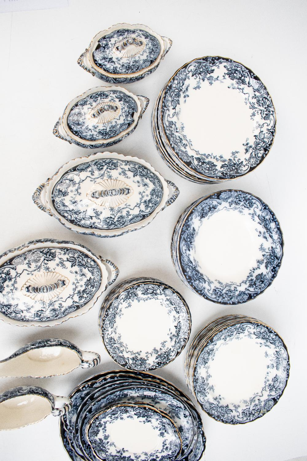 A late Victorian Losol Ware 'Chatsworth' pattern fifty-one piece part dinner service comprising - Image 2 of 5