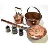 A small collection of the assorted metalware including a brass jam pan, copper kettle, pewter