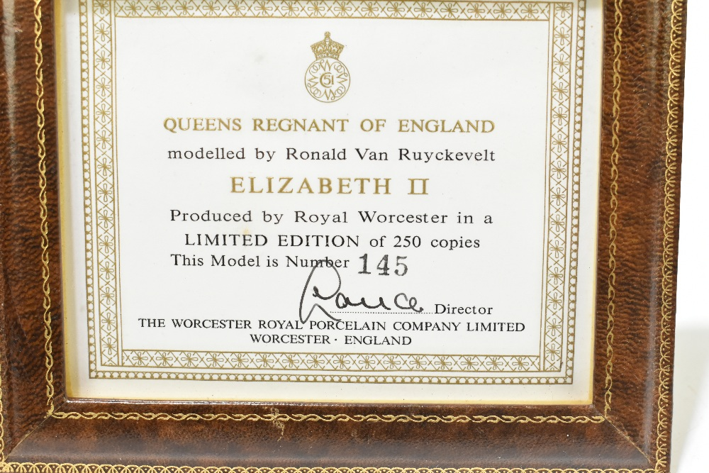 ROYAL WORCESTER; a limited edition figure, 'H.M Queen Elizabeth II', 145/250, modelled by Ronald Van - Image 3 of 8