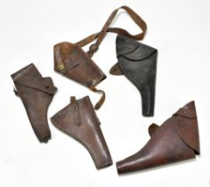 Five leather pistol holsters (5). Provenance: The Captain Allan Marshall Collection.Additional