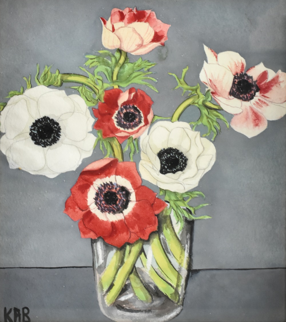 UNATTRIBUTED: two watercolours, still life, flowers in vases, each signed with initials KAB lower - Image 3 of 4