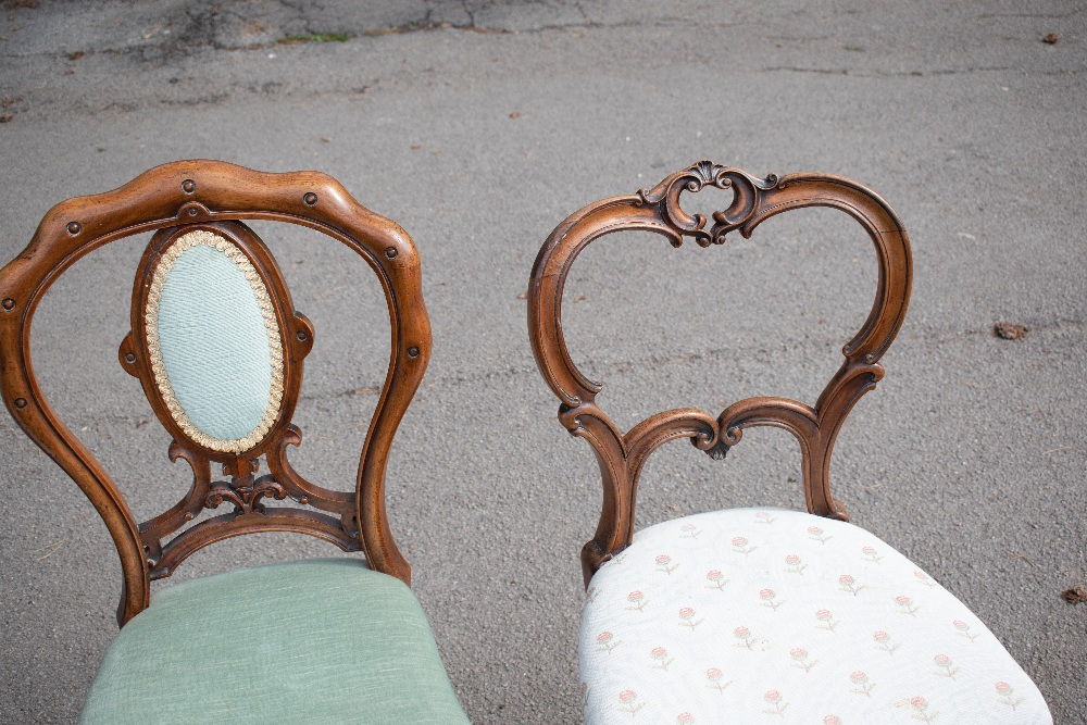 GILLOWS; a pair of Victorian carved rosewood side chairs, with scroll carved backs and floral - Image 3 of 4