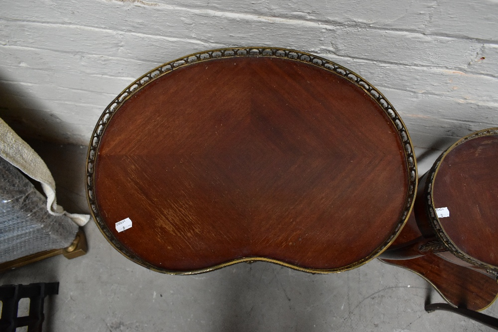Two reproduction French style kidney shaped side tables, each with brass galleried top, the larger - Image 5 of 6
