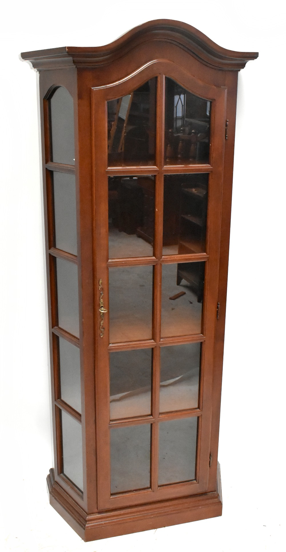 A reproduction display cabinet with glazed door and side panels enclosing four shelves, height 188.