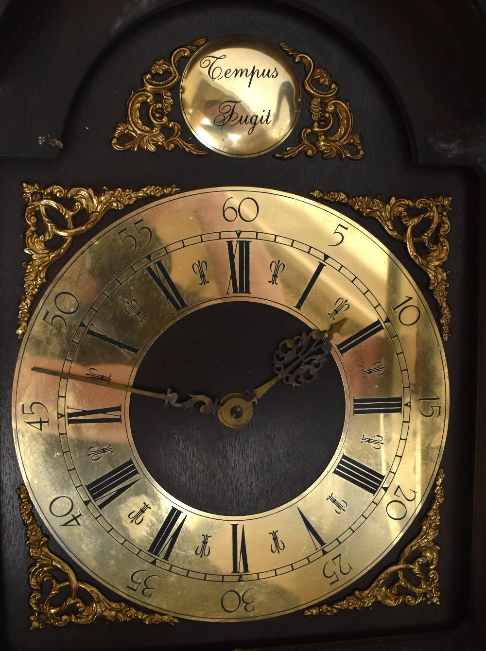 A German mahogany and stained pine eight day wall clock with brass Roman numeral chapter ring and - Image 2 of 2