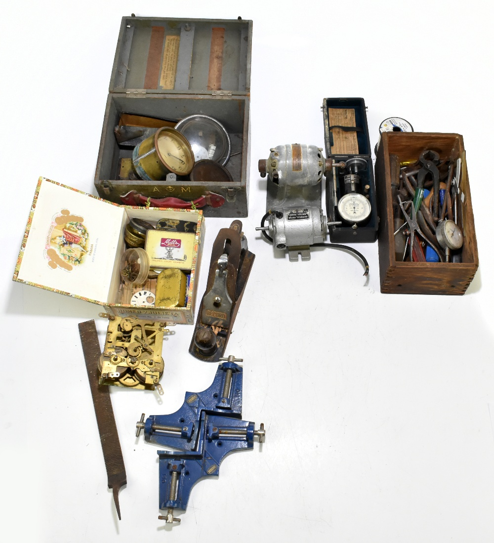 A group of vintage tools including a Record plane, Universal motor, a Cook & Co of Manchester